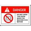 设备安全标识 防护标识 警告标贴 机械运转禁止打开此门