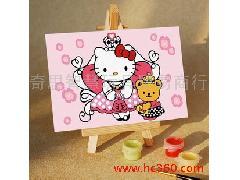 数字油画 diy手绘儿童卡通数字画 配颜料 10 15cm kt猫与